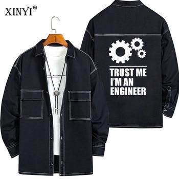 XINYI Mens Shirt Fashion High Quality100%Cotton Long sleeve I AM AN ENGINEER print Hip Hop Street Style men shirts 2020