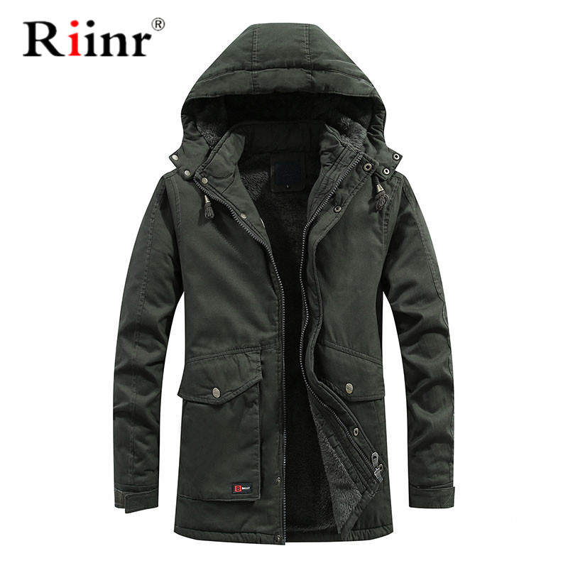 Riinr Brand Winter Jacket Men Size Warm Thick Windbreaker High Quality Fleece Cotton-Padded Parkas Military Overcoat Clothing