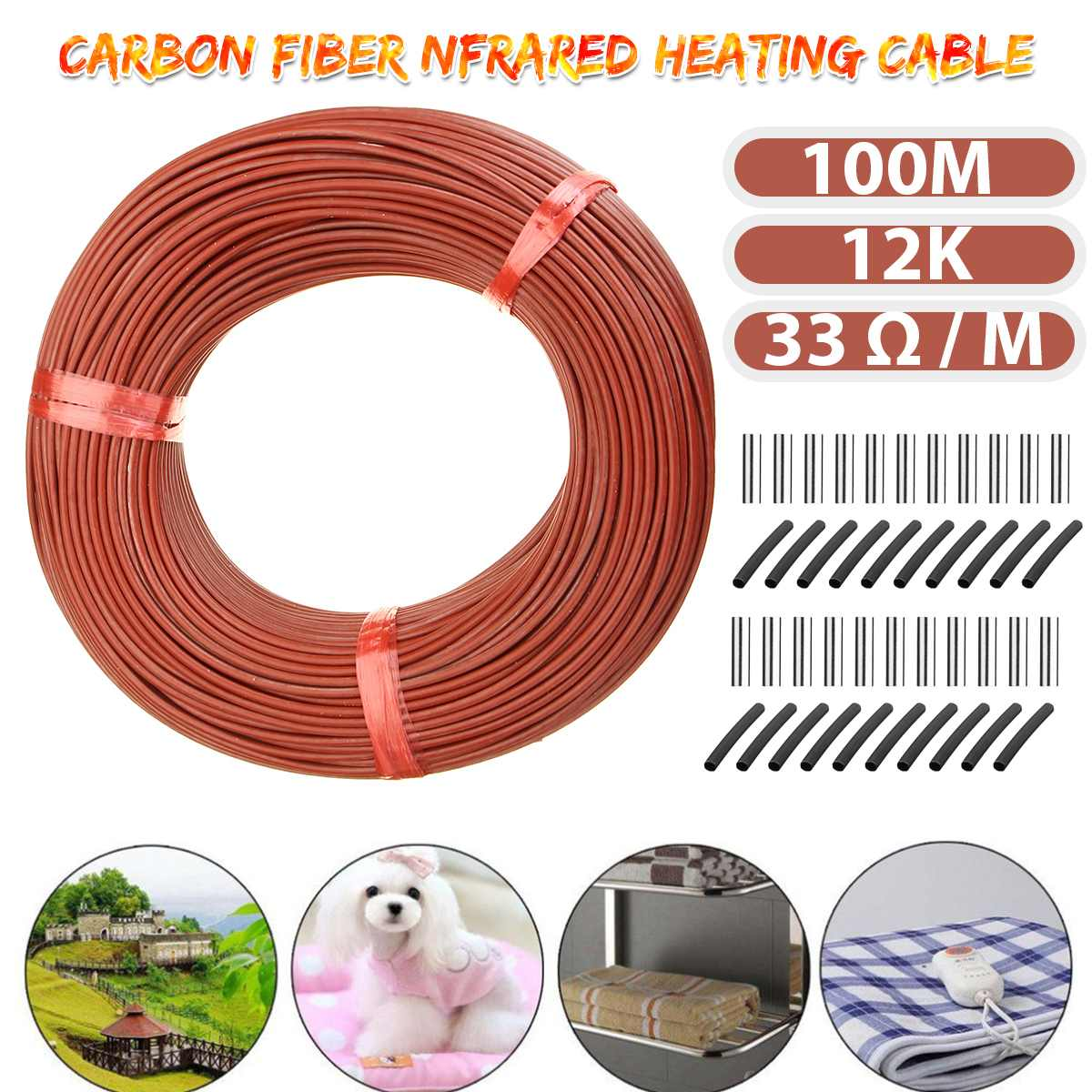 1 Roll 100M Floor Warm Heating Cable Heater Wire Home Living Room Greenhouse Heating Equipment 12k Carbon Fiber Heating Wire