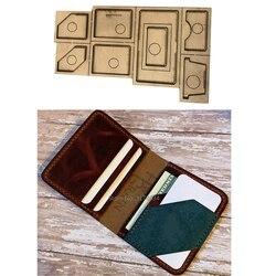 Troquelador de cuero, molde de hoja de acero japonés, tarjetero plegable de cuero DIY, bolsa, BILLETERA, molde de cuchillo de mano, troquel de madera, artesanía de cuero