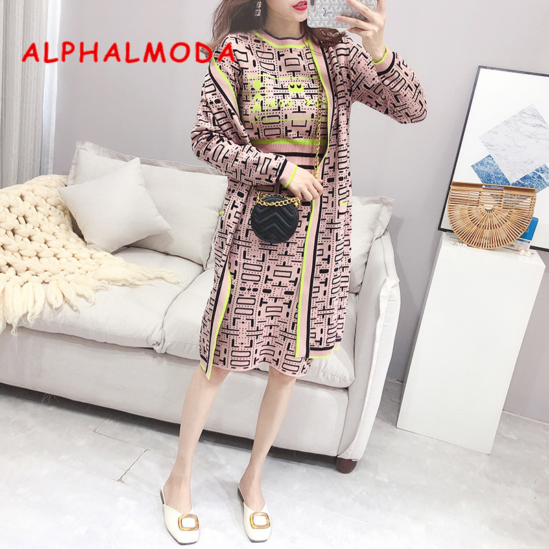 ALPHALMODA 2019 Autumn Winter Women's Geometric Pattern Knitting Long Jacket + Sweater + Pencil Skirt Fashion 3pcs Suit