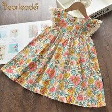 Urso líder meninas vestidos florais 2021 nova moda doce crianças flores trajes crianças sem mangas vestidos da criança roupas do bebê