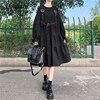 Yangelo Harajuku Women Black Midi Dress Gothic Punk Style Suspenders Bandage Dress Vintage Ruffles Long Baggy Cosplay Costume 4
