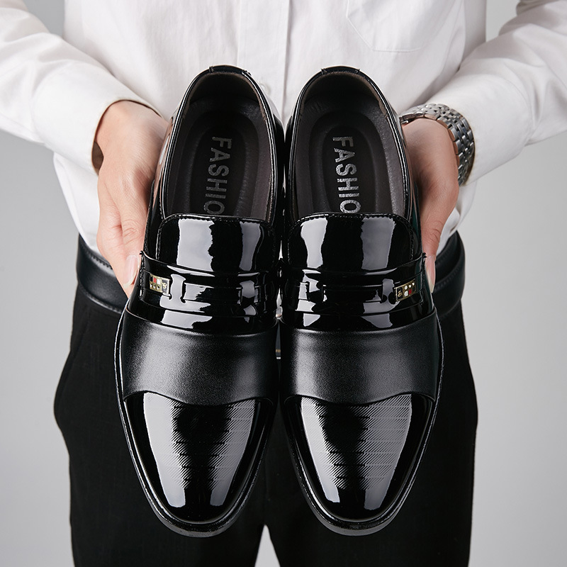 REETENE Fashion Leather Men Business Dress Shoes Men Loafers Pointy Black Shoes Oxford Comfortable Men Formal Wedding Shoes