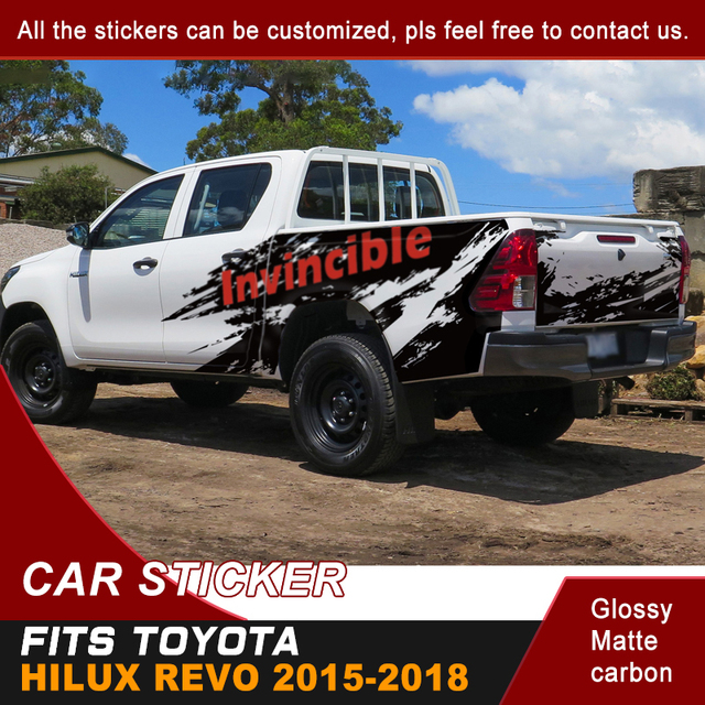 Car Decals Side Door Rear Trunk Mud Splash Graphic Vinyl Car Stickers Fit For TOYOTA HILUX Invincible 2015 2016 2017 2018 2019