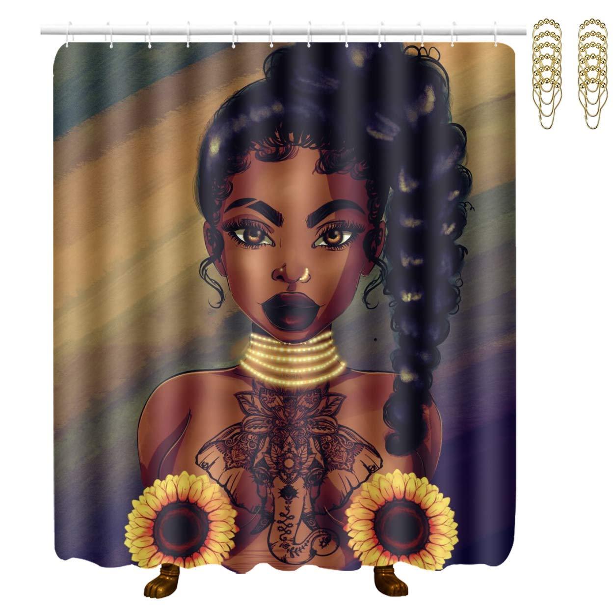 Ragazza donna nera afroamericana che dipinge tende da doccia classiche in poliestere