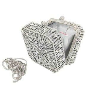 Image 4 - Boutique De FGG Bolso De mano con cristales deslumbrantes para mujer, Cartera De noche con cristales deslumbrantes, para boda, nupcial, para fiesta