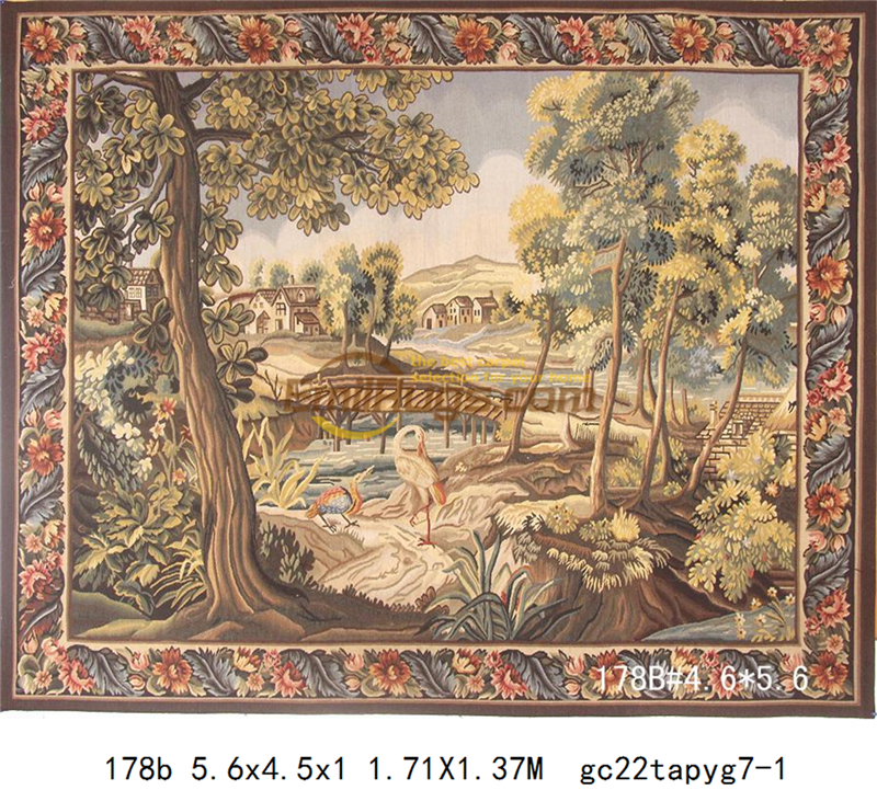 Tapestry Antique European Aubusson Art Brown Fashionable Circular Household Decoration Mat Woven Tapestry floor Kits - 2