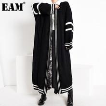 [EAM] Black Big Size Knitting Cardigan Sweater Loose Fit V-Neck Long Sleeve Women New Fashion Tide Autumn Winter 2021 1Y16401