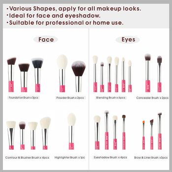 Jessup Rose-carmin/Silver Makeup brushes set Beauty Foundation Powder Eyeshadow Make up Brush 6pcs-25pcs Natural-synthetic hair 3