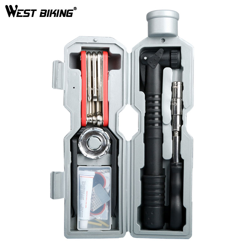 WEST BIKING Bicycle Repair Tools Kit Capsule Box Multi Folding Spoke Wrench MTB Bike Cycling Tire Repair Bottle Cage Tool Set