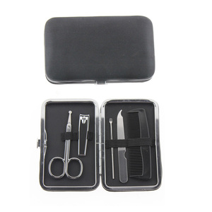 5 in 1 Men Women Gift Travel Home Manicure Set Tool Grooming Kit Include Nail Clipper File Scissor Hair Comb Ear Pick Cleaner