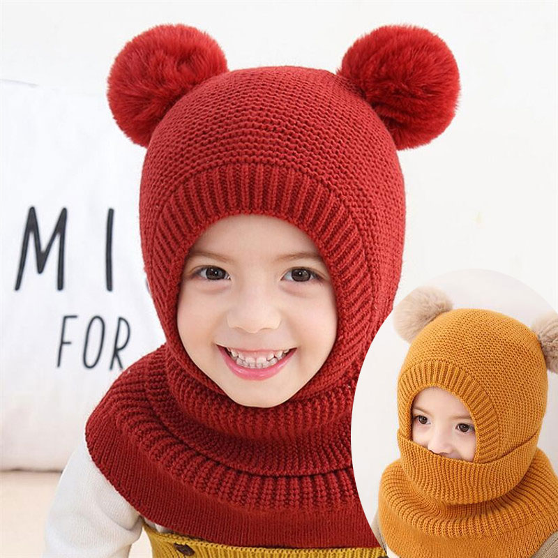 2019 Knit Hooded Scarf Kids Hat And Scarf Child With Mask Winter Warm Protection Ear Pom Pom Cap Scarves Girls Boy Accessories