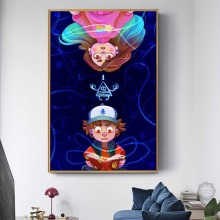Gravity Falls Cartoon Movie Hot Art Painting Silk Canvas Poster Wall Home Decor