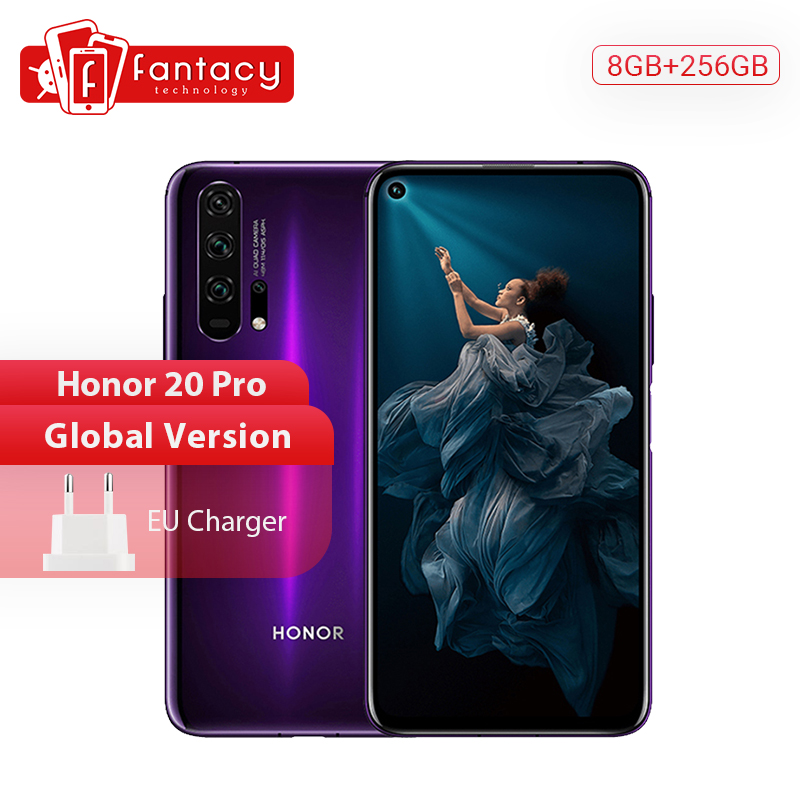 Global Version Honor 20 Pro Smartphone 8G 256G Kirin 980 Octa Core 48MP Four Cameras Mobile Phone 6.26'' 4000mAh Google Play NFC
