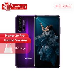 Глобальная версия Honor 20 Pro смартфон 8G 256G Kirin 980 Восьмиядерный 48MP четыре камеры мобильный телефон 6,26 ''4000mAh Google Play NFC