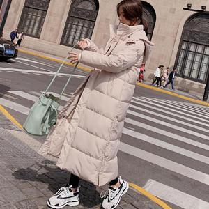 Image 2 - Kobiet dół bawełny kurtka zimowa płaszcz Super długie parki z kapturem studenci luźne kobiet kurtka ciepłe kurtki zimowe płaszcze C5872