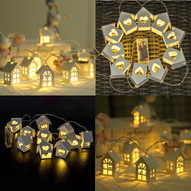 10LED/20LED Garland European Style Wood House String Light 1.5M/3M Wood Love Heart House Room Decor Wedding Party Fairy Light