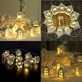 10LED/20LED Girlande Europäischen Stil Holz Haus String Licht 1 5 M/3 M Holz Liebe Herz Haus Zimmer decor Hochzeit Fee Licht-in Lichterketten aus Licht & Beleuchtung bei