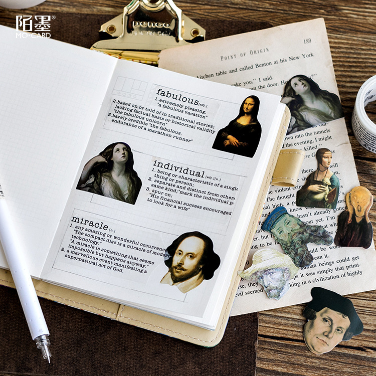 46 Pieces/Pack Lovely Stickers Set Famous People Van Gogh Mona Lisa Funny Sticker Decorate Journal Scrapbook School Stationary