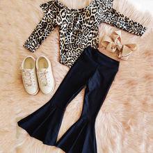 Осенне-зимняя одежда для маленьких девочек леопардовый комбинезон, топы, длинные штаны, комплект одежды из 2 предметов