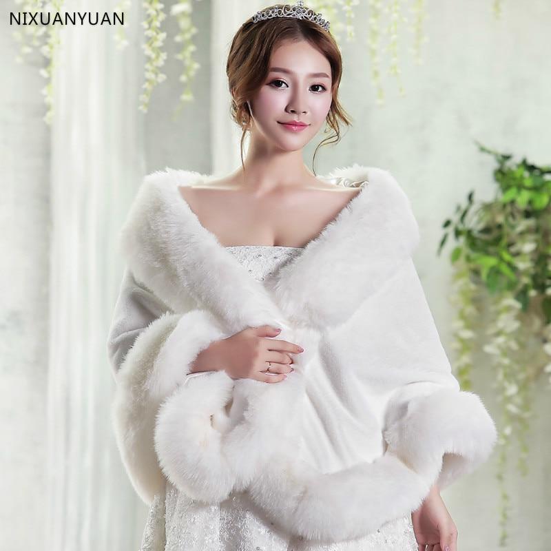 2020 Women Winter Casual Occasion Wrap Bridal Wrap Jackets Winter Warm Faux Fur Wedding Coat