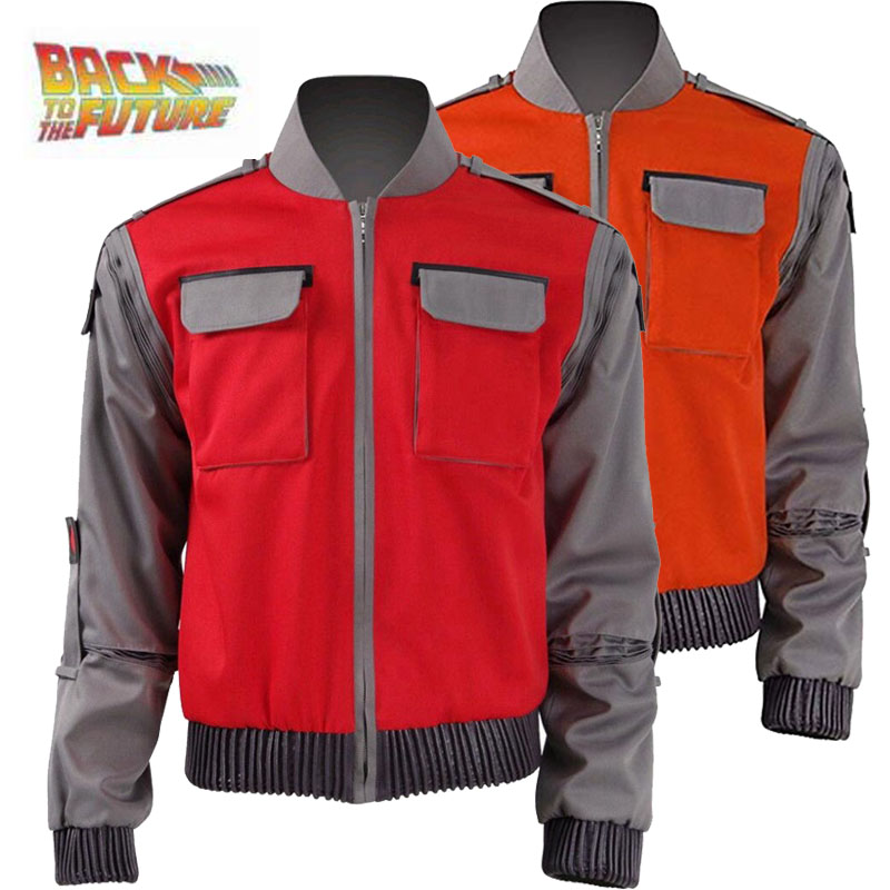 High-quality Back To The Future Cosplay Costume Jr Marlene Seamus Marty Mcfly Jacket cosplay Orange Red Outwear Coat