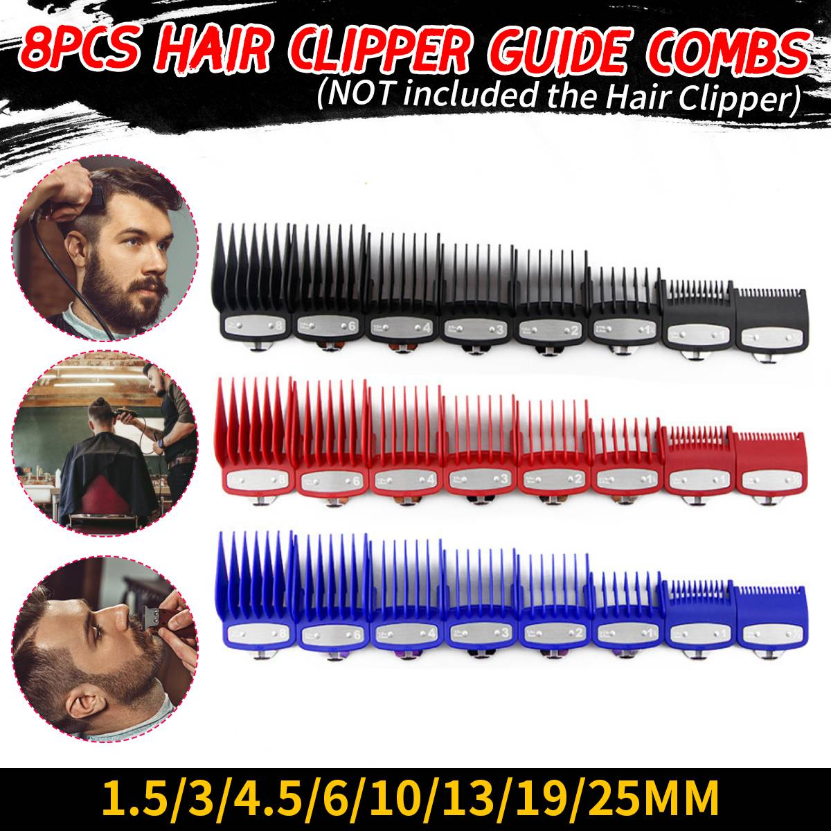 8Pcs Hair Clipper Cutting Guide Combs Set With Metal Clip Replacement Tools For WAHL Hair Cutting Machine