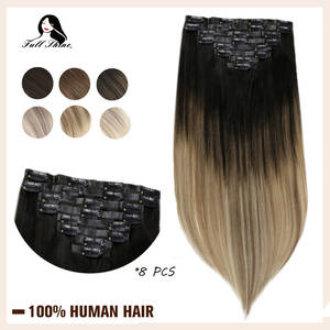 Human-Hair-Extension Remy-Hair Seamless Clip-In PU Full-Shine 8pcs Skin-Weft Blondcolor