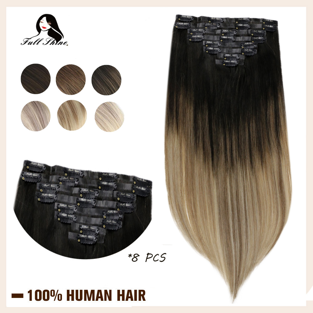 Full Shine PU Clip In Human Hair Extension BlondColor Seamless Skin Weft 100% Machine Remy Hair Clip In 8Pcs 100g Real Clip On