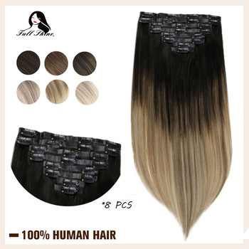 Full Shine PU Clip in Human Hair Extension BlondColor Seamless Skin Weft 100% Machine Remy Hair Clip in 8Pcs 100g Real Clip On full shine balayage color 3 8 613 hair weft 100g hair weave sew in ribbon hair 100