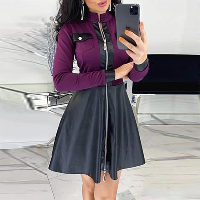 unique satin print dress w/breastpocket trim 5