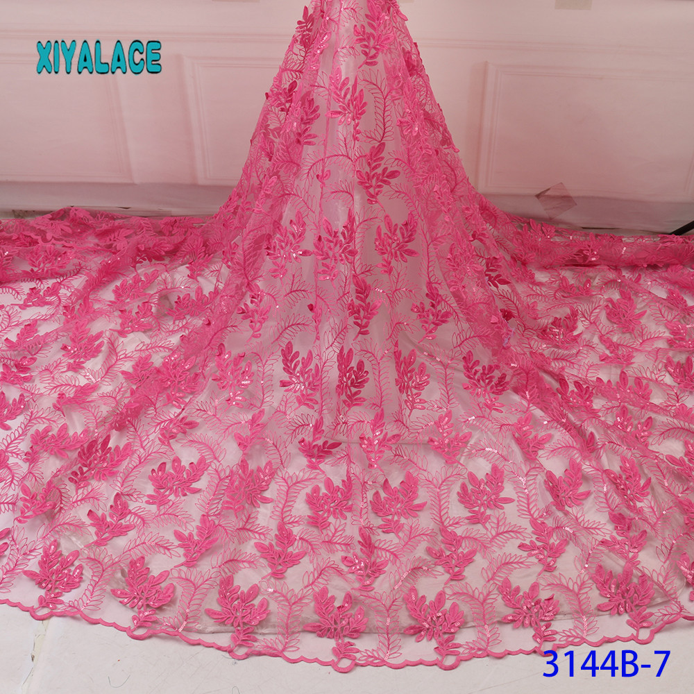 Pink African Lace Fabrics Organza Lace Fabric 2019 High Quality Nigerian French Tulle Lace With Net Lace Fabric YA3144B-7
