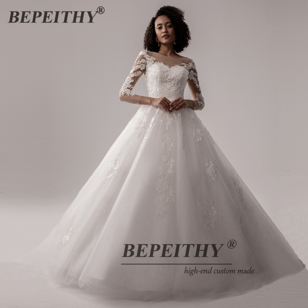 BEPEITHY Ball Gown Scoop Wedding Dress For Women Lace Long Sleeves Vintage  India Bridal Gown Online Shop 20 Vestidos De Novia
