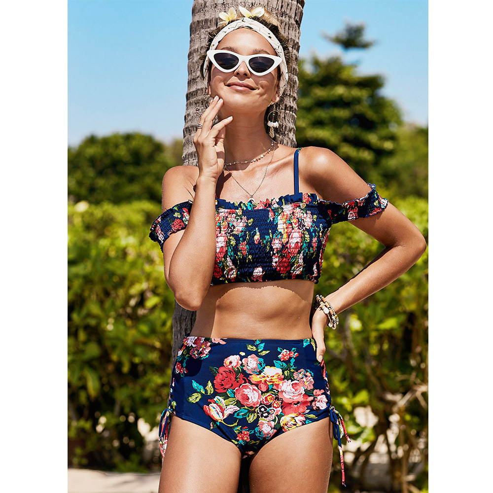 Shi Ying Seaside Holiday Swimwear Women's Tube Top Horizontal Neck Camisole Navel Printed Boxer Two-piece Swimsuits 411310