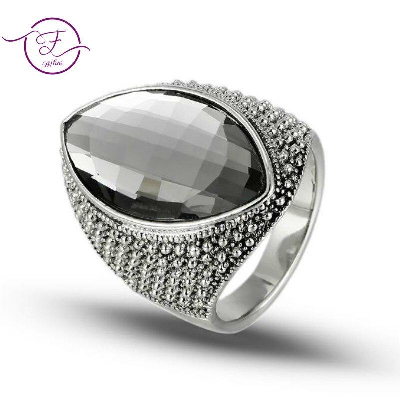 New Geometric Crystal Rhinestone Ring Retro Jewelry Vintage Gemstone Silver Ring For Women Men Gift