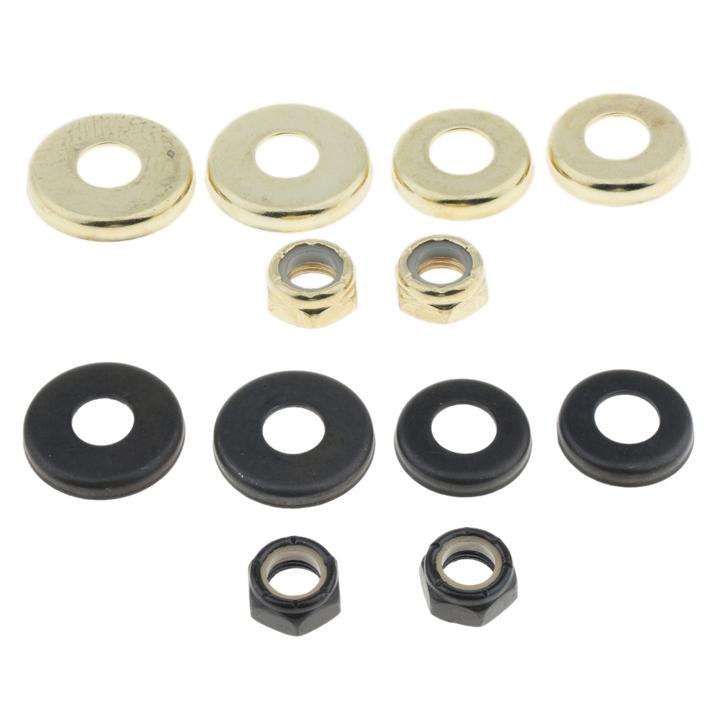 4pcs Replacement Longboard / Skateboard Bushings Washers Cup Cushion Shock Proof With 2pcs Nuts Bolt Hardware Flat Washer