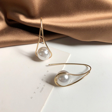 цена на Fashion hollow out big pearl Dangle Earrings triangle water droplets pendants ear hook Earrings For Women Jewelry Accessories