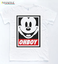 OH BOY Mickey T-shirt Hipster Vintage Parody Tee Tumblr Indie Boy Girl Top Brand Cotton Men Clothing Male Slim Fit T Shirt