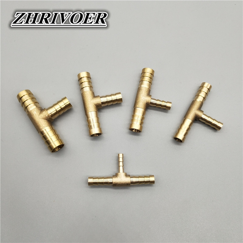 4mm 5mm 6mm 8mm 10mm 12mm 14mm 16mm Tee Type Reducing Hose Barb Brass Barbed Tube Pipe Fitting Reducer Coupler Connector Adapter