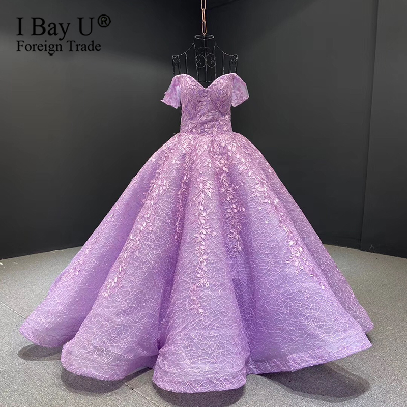 2020 Full Purple Lace Blush Ball Gown Wedding Dress Off Shoulder Sweetheart Floor Length Lace-up Saudi Arabia Bride Dresses