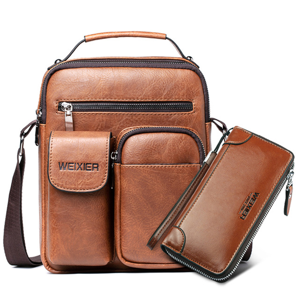 2020 Men Shoulder Bag For 10.5 IPad PU Leather Handbag For Man Large Capacity Male Crossbody Bags Business Man Messenger Bag