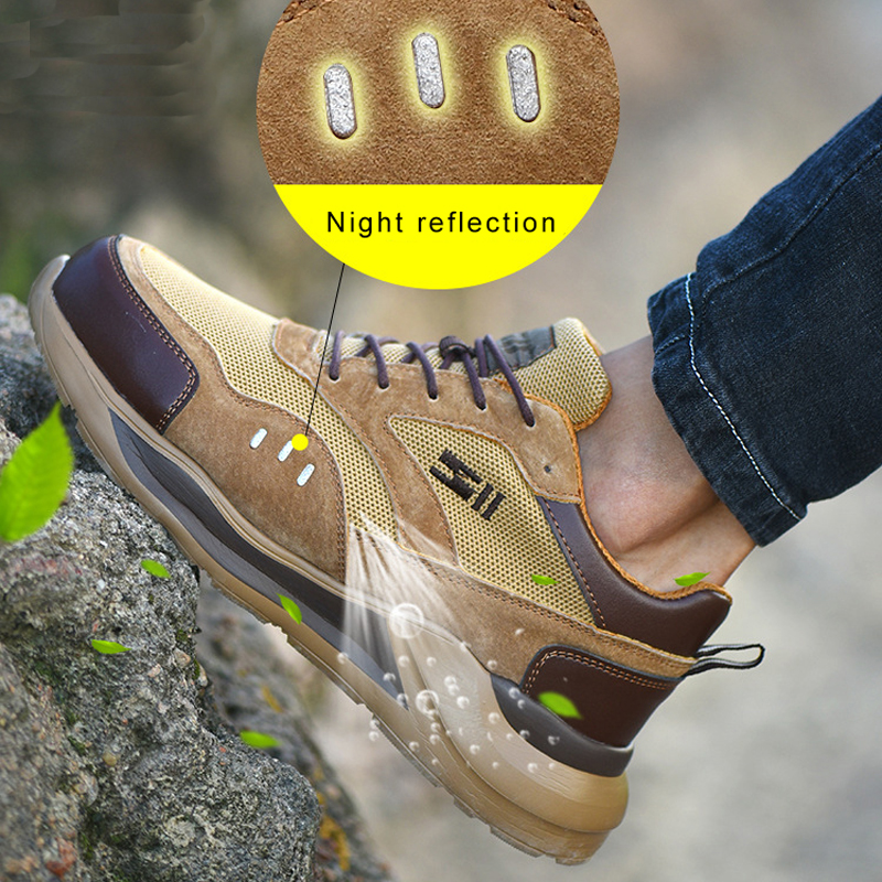 Work Boots Construction Men's Outdoor Steel Toe Cap Shoes Men Puncture Proof Comfortable Soft High Quality Safety Shoes