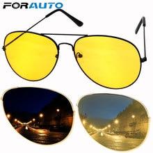 Forauto anti-reflexo óculos de sol motorista do carro visão noturna óculos de condução acessórios automóveis liga de cobre