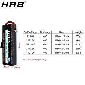 Image 3 - HRB 3300mah Hardcase Lipo Battery 2S 7.4V 3S 11.1V 4S 14.8V 5S 18.5V 6S 22.2V 60C T Deans XT60 Hard Case RC Airplanes Car Parts