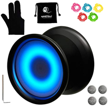 Magicyoyo Y02-Aurora Light Up Professional Unresponsive Yoyo with Led Lights Glove,Yoyo Holster,5 Strings,Blue
