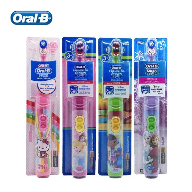 فرشاة أسنان كهربائية أورال بي كيدز للعناية باللثة شعيرات فائقة النعومة لتنظيف الأسنان مزودة ببطارية AA للأطفال 3 +