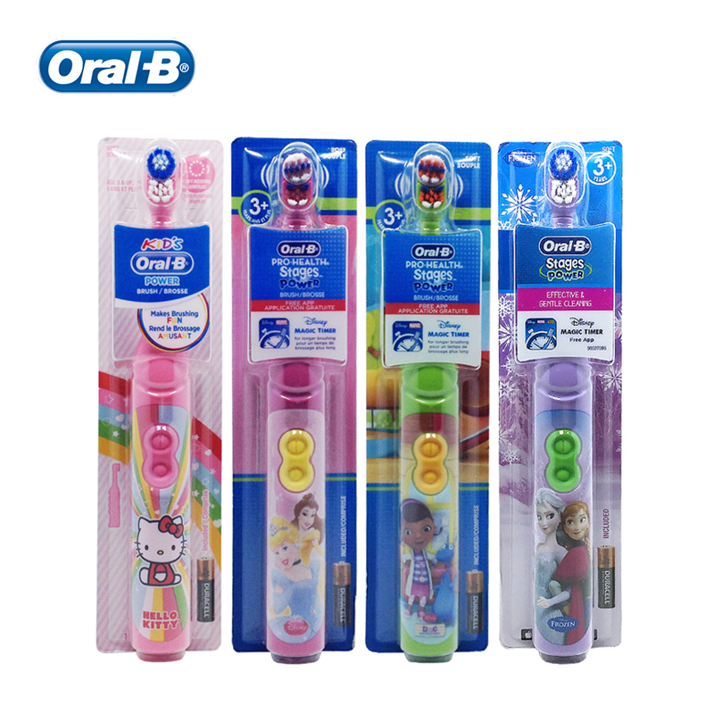 Oral B Kids Electric Toothbrush Gum Care Extra Soft Bristles Rotation Vitality AA Battery Soft Tooth Brush for Children 3+ image