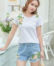 2020 Fairy Shorts Summer New Slim Denim Shorts Embroidery Flower Wide Foot Shorts Jfmhrx Woman Shorts