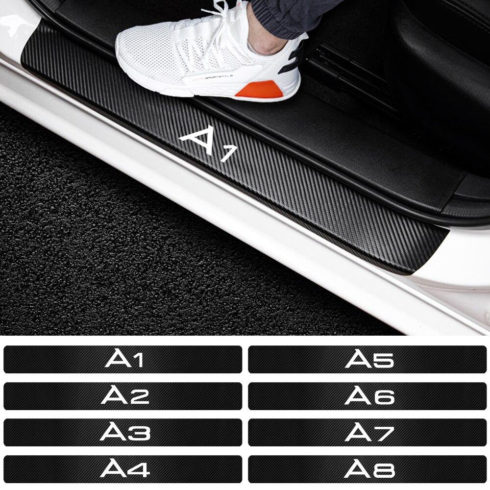 4 шт./компл. Стайлинг автомобиля 3D наклейки на порог двери из углеродного волокна для AUDI A1 A2 A3 A4 A5 A6 A7 A8 эмблема с логотипом аксессуары